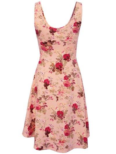 Sleeveless Chiffon Flroal Dress - PINK S Mobile