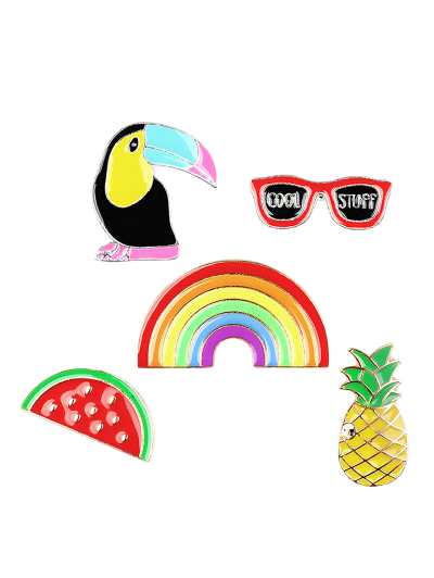 Rainbow Pineapple Watermelon Glasses Brooch Set - COLORMIX  Mobile