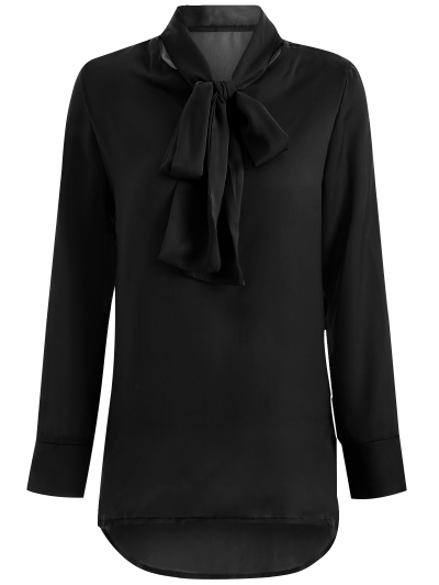 Long Sleeve Pussy Bow Blouse - BLACK S Mobile