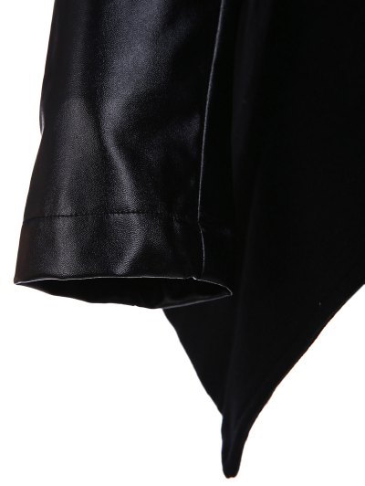Open Front PU Leather Sleeve Trench Coat - BLACK 2XL Mobile