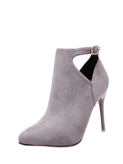 Hollow Out Flock Stiletto Heel Ankle Boots - LIGHT GRAY 37 Mobile