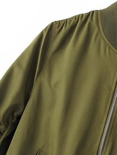 Zippered Sleeve Bomber Jacket - ARMY GREEN M Mobile