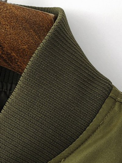 Zippered Sleeve Bomber Jacket - ARMY GREEN S Mobile