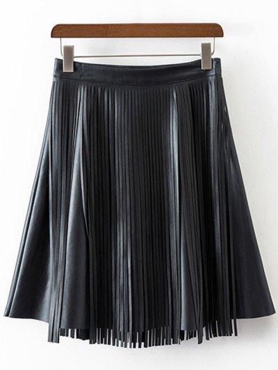 PU Leather High Waisted Tassels Spliced Skirt - BLACK L Mobile