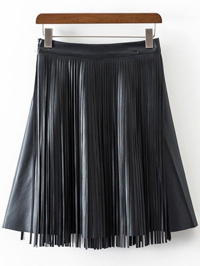 PU Leather High Waisted Tassels Spliced Skirt - BLACK M Mobile