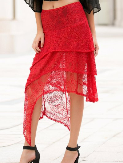 Asymmetric Solid Color Lace Skirt - RED L Mobile