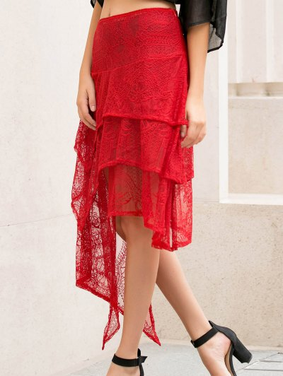 Asymmetric Solid Color Lace Skirt - RED M Mobile