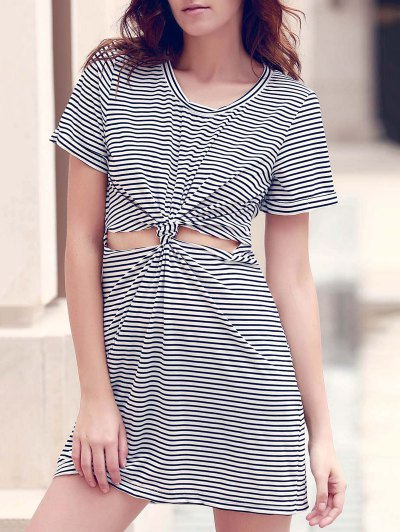 Striped Round Collar Short Sleeve Knotted Cut Out Dress - White And Black