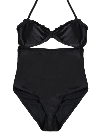 Bowknot Cut Out One-Piece Swimwear - BLACK XL Mobile