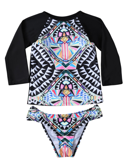 Round Neck Patterned Tankini Set - BLACK M Mobile