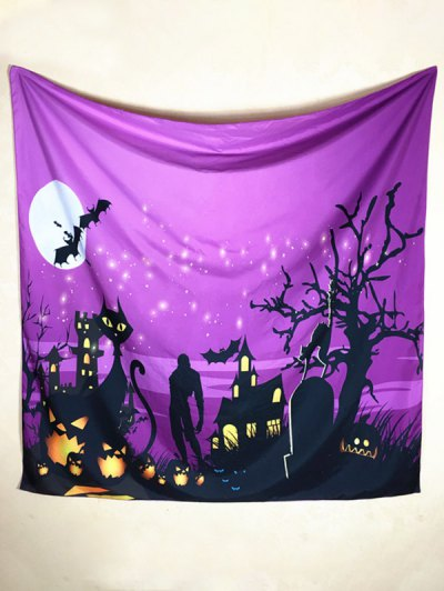 Halloween Day Night Square Scarf - PURPLE  Mobile