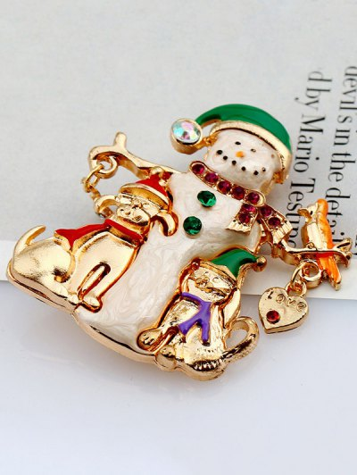 Christmas Snowman Resin Brooch - GOLDEN  Mobile