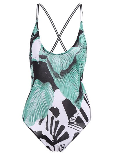 Spaghetti Strap Leaves Print Open Back Swimsuit For Women - COLORMIX XL Mobile