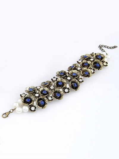 Retro Rhinestone Flower Bracelet - BLUE  Mobile