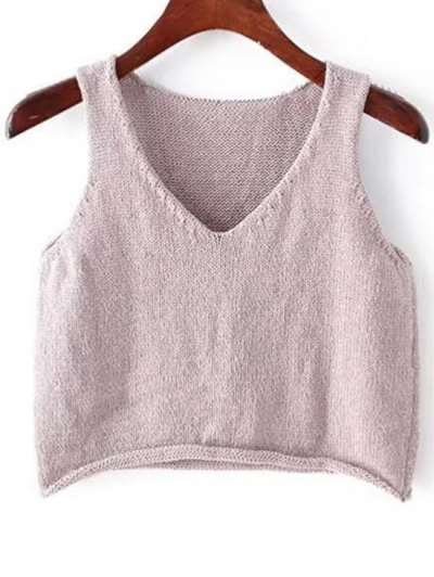 Plunging Neck Sleeveless Solid Color Knit Tank Top