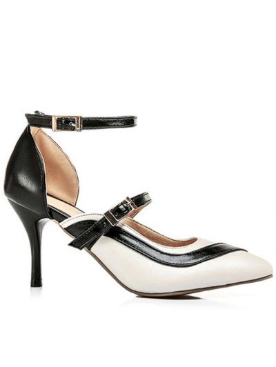 Color Block Buckle Pointed Toe Pumps - WHITE 38 Mobile