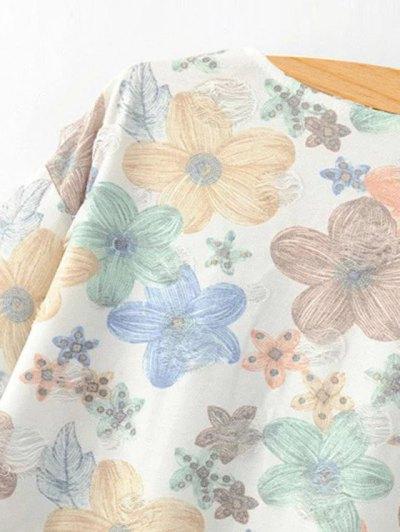 Full Floral Jewel Neck Short Sleeve T-Shirt - COLORMIX S Mobile