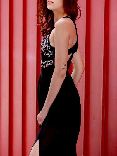 Embroidered High Slit Chiffon Maxi Dress - BLACK M Mobile