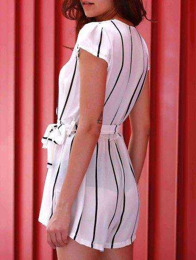 Deep V Neck Vertical Stripes Romper - WHITE S Mobile