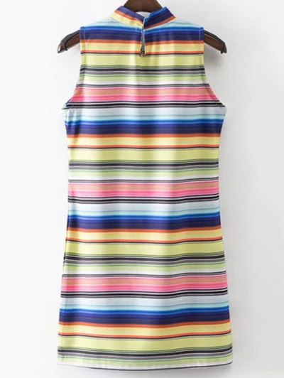 Colored Stripe Stand Neck Sleeveless Dress - STRIPE S Mobile