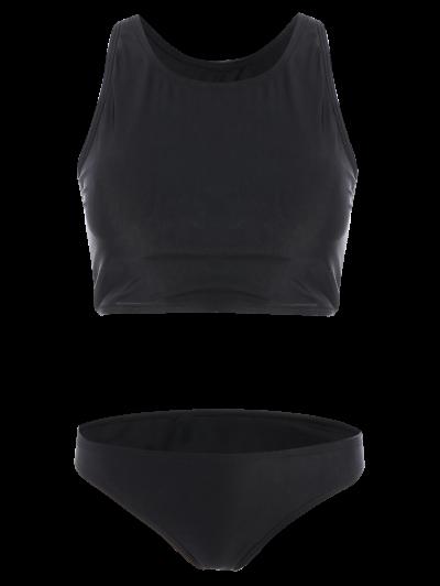 Padded High Neck Sporty Bikini Set - BLACK S Mobile