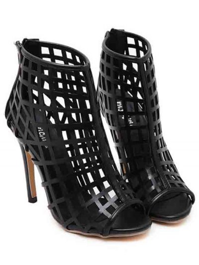 Hollow Out Stiletto Heel Peep Toe Shoes - BLACK 38 Mobile