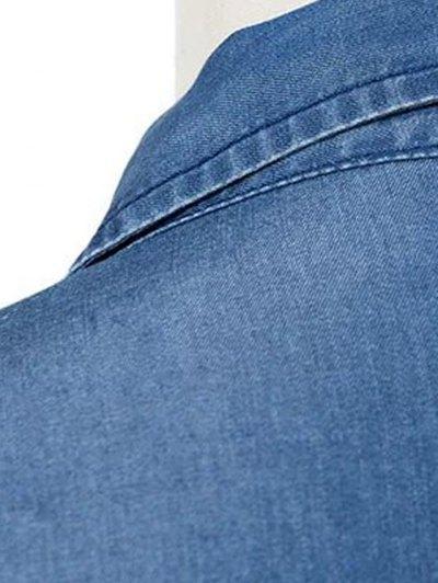 Pockets Shirt Collar Long Sleeve Chambray Dress - BLUE S Mobile