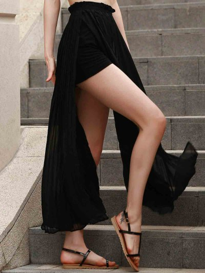 Pleated Chiffon Long Skirt - BLACK XL Mobile