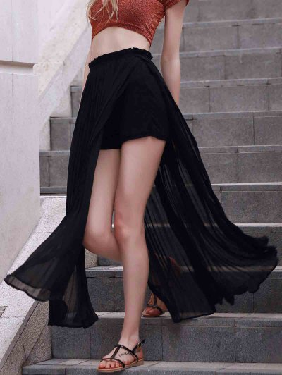 Pleated Chiffon Long Skirt - BLACK S Mobile