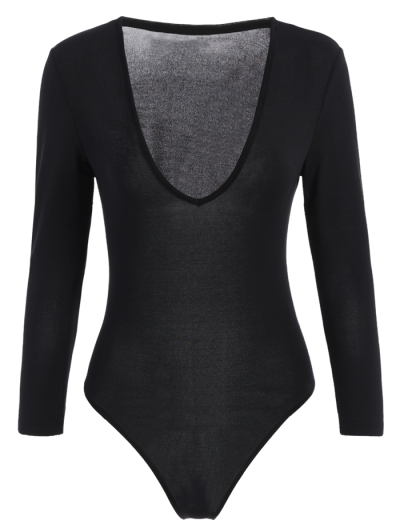 Fitted Long Sleeve Plunge Bodysuit - BLACK XS Mobile