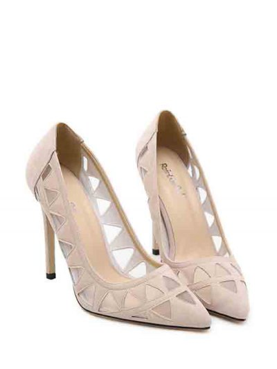 Hollow Out Geometric Pointed Toe Pumps - APRICOT 39 Mobile