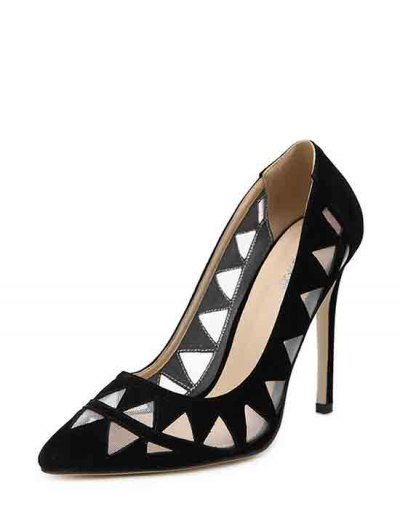 Hollow Out Geometric Pointed Toe Pumps - BLACK 40 Mobile