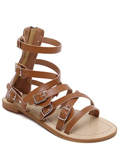 Cross-Strap Buckles Flat Heel Sandals - Brown
