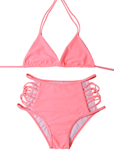 High Waist Cut Out Bikini Set - PINK L Mobile