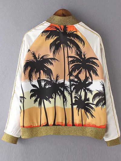 Coconut Tree Print Stand Neck Long Sleeve Jacket - YELLOW S Mobile