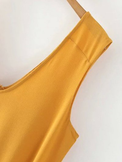 Solid Color V Neck Sleeveless Romper - YELLOW M Mobile
