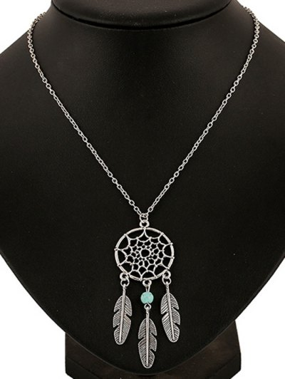 Feathers Hollow Out Spider Web Pendant Necklace - SILVER  Mobile