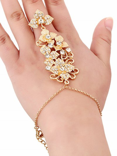 Rhinestone Flower Ring and Wrist Chain - GOLDEN  Mobile