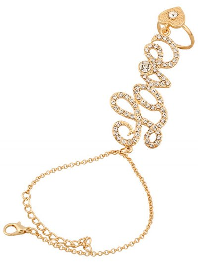 Rhinestone Heart Ring and Wrist Chain - GOLDEN  Mobile