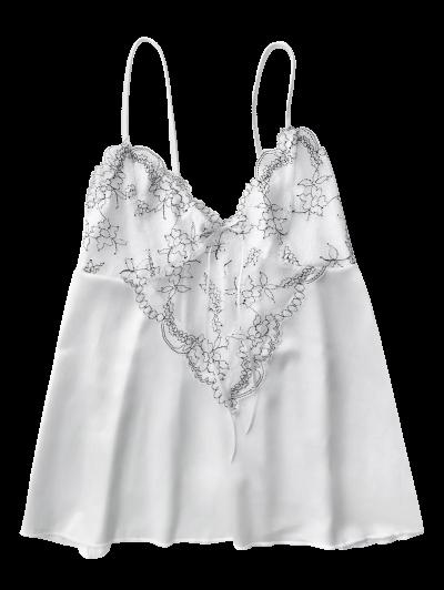 Lace Satin Babydoll Slip Dress - WHITE XL Mobile
