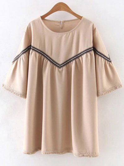 Embroidered Tassels Round Neck 3/4 Sleeve Dress - APRICOT S Mobile
