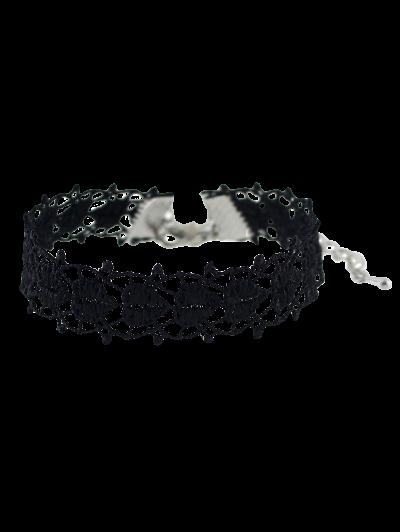 Crochet Lace Heart Bracelet - BLACK  Mobile