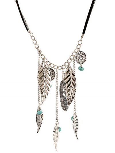 Feathers Bead Leaves Pendant Necklace - SILVER  Mobile
