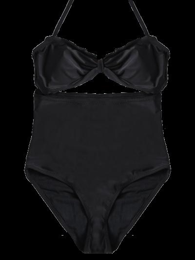 Bowknot Cut Out One-Piece Swimwear - BLACK M Mobile