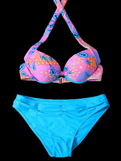 Halter Ethnic Style Bikini Set - BLUE S Mobile