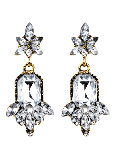 Faux Crystal Chandelier Floral Drop Earrings - WHITE  Mobile