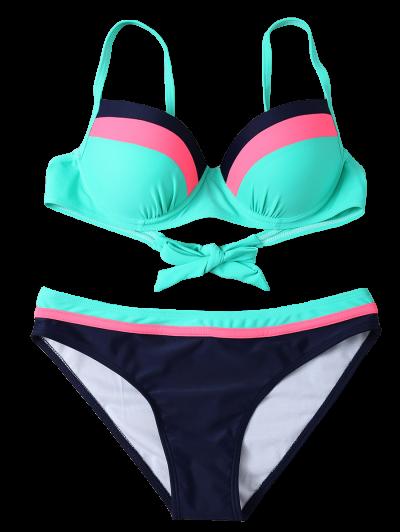 Color Block Bowknot Bikini Set - GREEN L Mobile