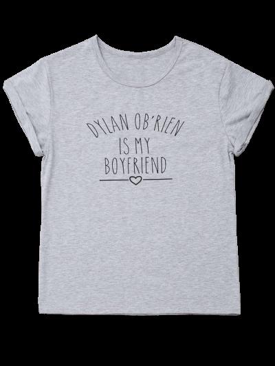 Short Sleeve Letter Print Boyfriend T-Shirt - GRAY S Mobile