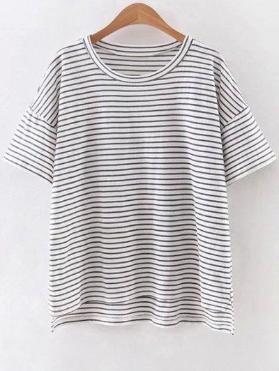Striped Round Neck Half Sleeve High Low Hem T-Shirt - White