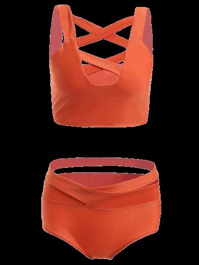 Solid Color Hollow Out Straps Bikini Set - Jacinth